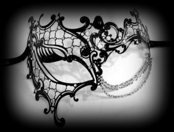 Occhialino Lux Venetian Filigree Masquerade Mask - Nero Black