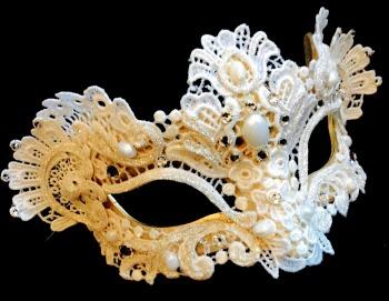 Murano Strass Venetian Masquerade Mask - White