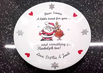 Personalised Christmas Eve Santa and Rudolph Treat Plate