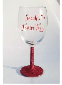 Personalised Wine / Champagne Glitter Glass