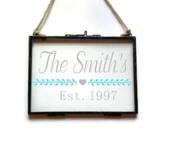 "5x7"" Floating See Through Frame - Family Name & Established Date"
