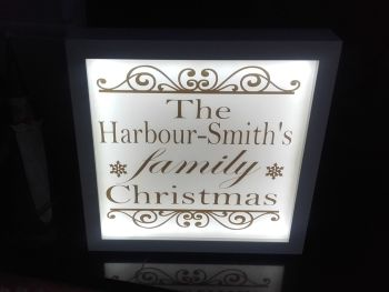 Illuminated Light Up Family Christmas Sign Frame