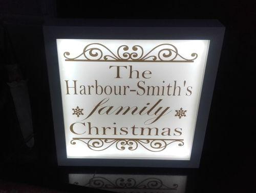 Illuminated Light Up Family Christmas Sign Frame