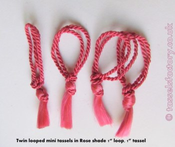 "Mini Tassels DOUBLE Looped 1"" &1"" PINK TASSEL for CARDS, Crafts, Sewing"