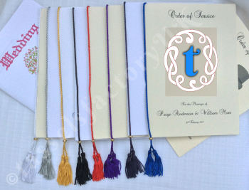 A5 Chainette Tassel (Luxury Twin Tassels) With Metal Slider for Order of Service Cards, Size : for spine upto 9""