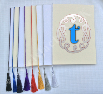 A5 Tassels for use in Menu/ order of service Cards Wedding 8 Colours Fits A5
