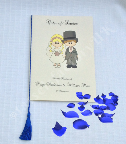 A5 Wedding Tassels for use in Menu Cards, Wedding Invitations, Royal Blue C
