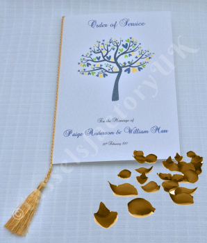A5 Wedding Tassels for Menu Cards, Wedding Invitations, Order of Service Cards, A5 GOLD COLOUR