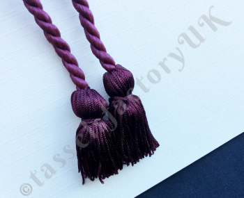 Purple Chainette Chunky Twin Tassels - On a 5mm Thick Cord Rope (Napkin Ties)