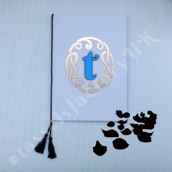A5 Chainette Black Tassel (Luxury Twin Tassels) With Metal Slider for Order of Service Cards, Size : for spine upto 9""