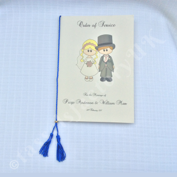 A5 Chainette Royal Blue Tassel (Luxury Twin Tassels) With Metal Slider for Order of Service Cards, Size : for spine upto 9""