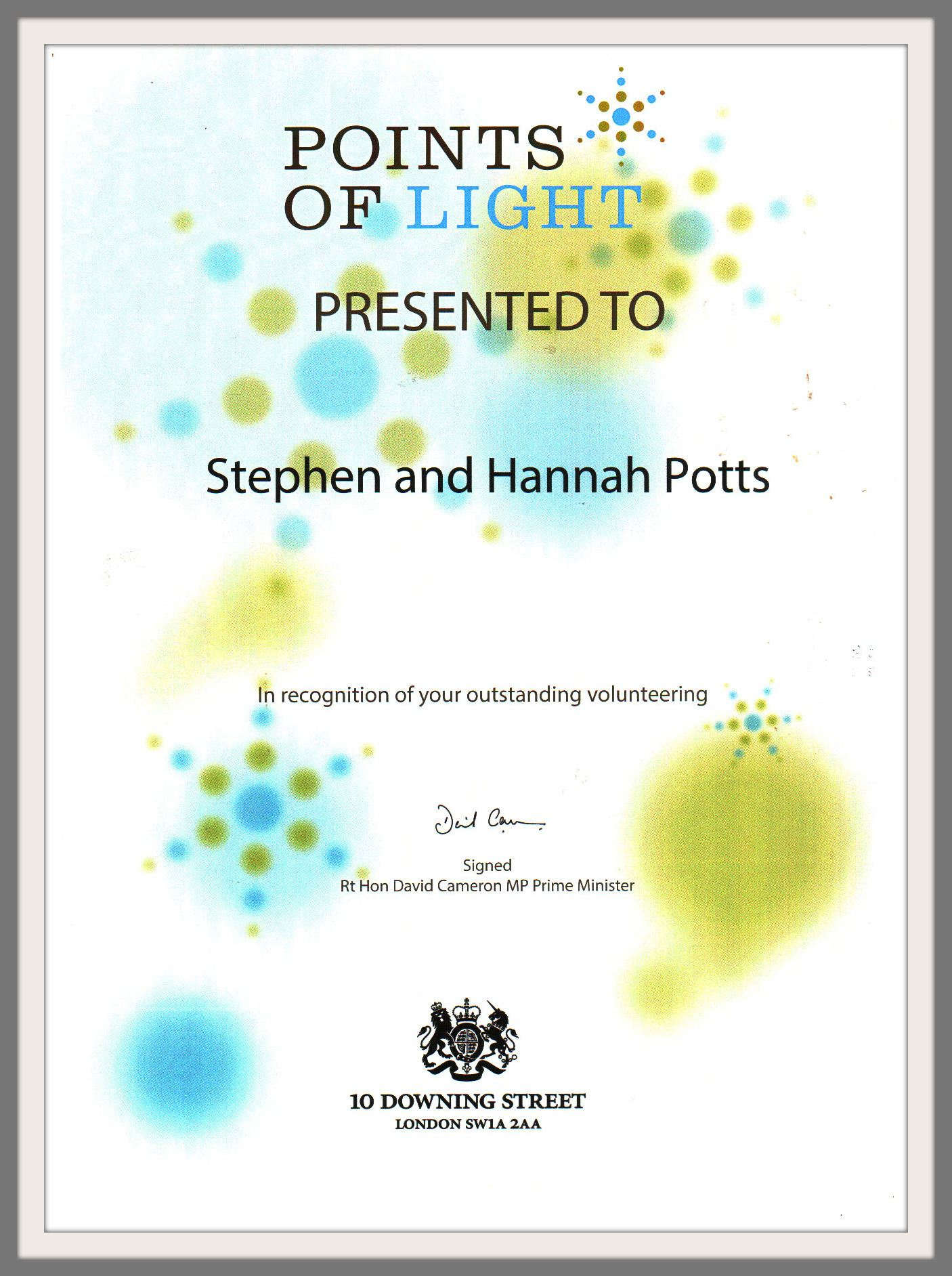 points of light certificate border
