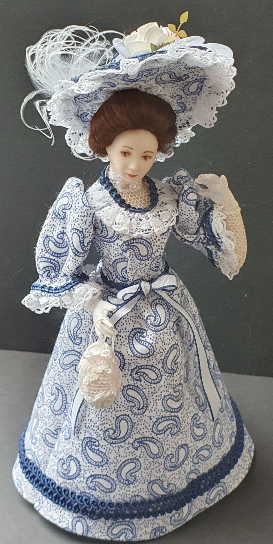 Blue Paisley Edwardian Walking Dress