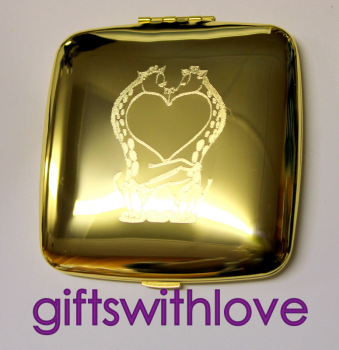 Gold Plated Giraffe Mirror compact - FREE ENGRAVING