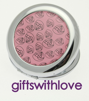 Pink floral and Silver Plated Round Mirror compact - FREE ENGRAVING