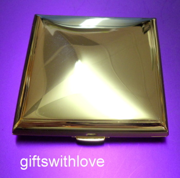 Cushioned Gold Plated Mirror compact - FREE ENGRAVING