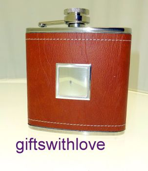 Brown leather effect 4oz Stainless Steel Hip Flask - FREE ENGRAVING