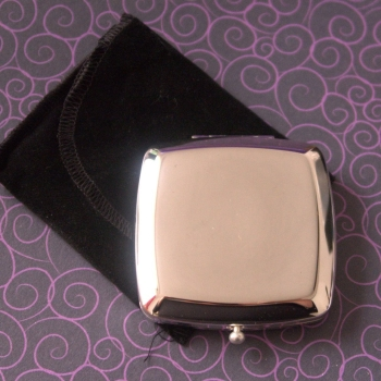 Square Silver Plated Mirror Compact - Free Personalisation