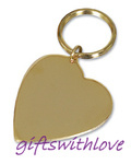 Gold Plated Heart key ring  - FREE ENGRAVING