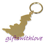 Gold Plated Great Britain key ring  - FREE ENGRAVING