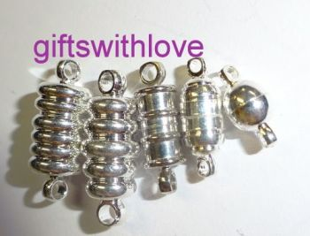 Pack of 5 mixed Silver plated Magnetic clasps
