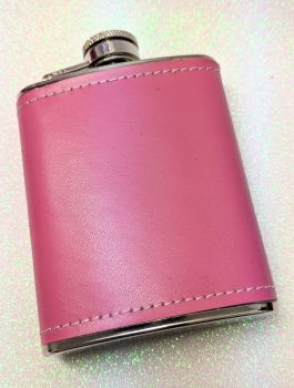 Pink Leather Effect 2oz Hip Flask - Free Engraving