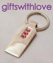 Pink Crystal Bar Key Ring - FREE ENGRAVING