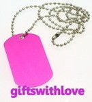 Fuscia Pink Military Style Army Dog Tag FREE ENGRAVING