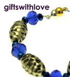 Blue & Gold/Silver Plated Bracelet - FREE ENGRAVING