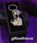 Diamante Heart shaped Keyring - Free personalisation