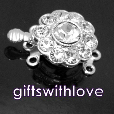 Silver Plated 3 row Diamante Clasp