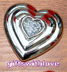 Silver plated Heart Mirror Compact - Free Engraving