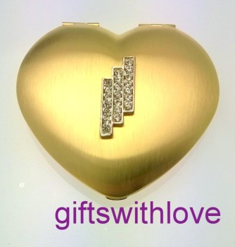 Gold Plated Heart Mirror compact - FREE ENGRAVING