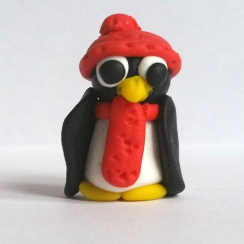Penguin with Hat and Scarf Polymer Clay Bead / Charm Price From: