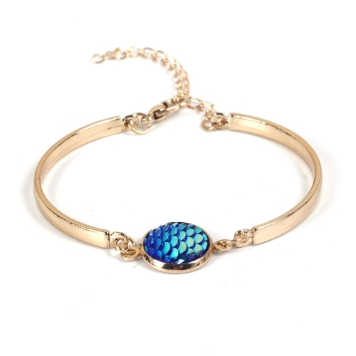 Mermaid Bracelet, Gold Plated, Aurora Borealis, Blue