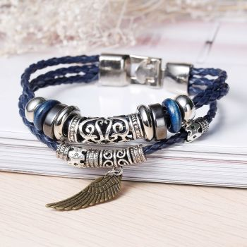 Tri-Layer Leather Bracelet with Multicolor Beads & Wing Pendant