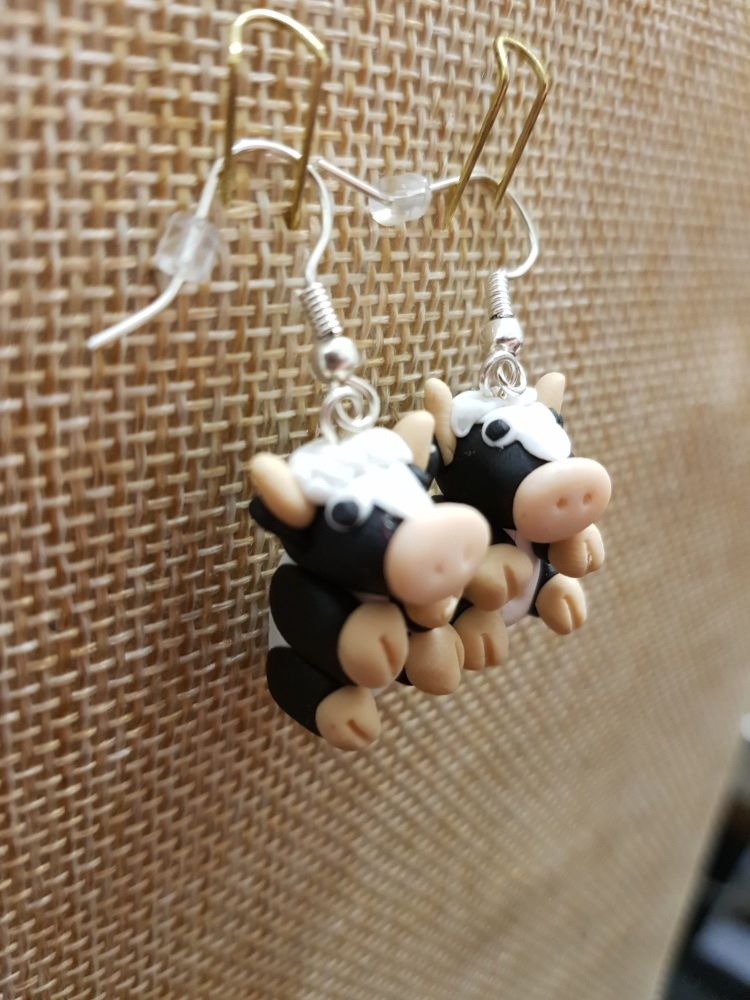 Black & White Cow Earrings