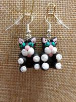 Black & White Cat Earrings