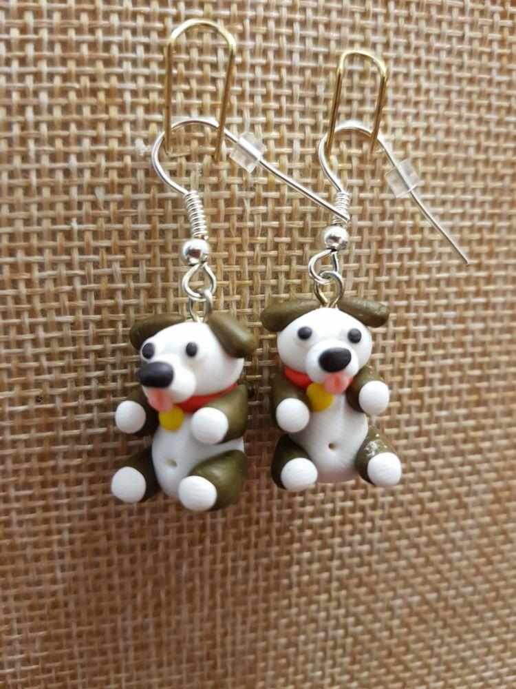 Brown & White Dog Earrings