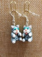 Grey & White Cat Earrings