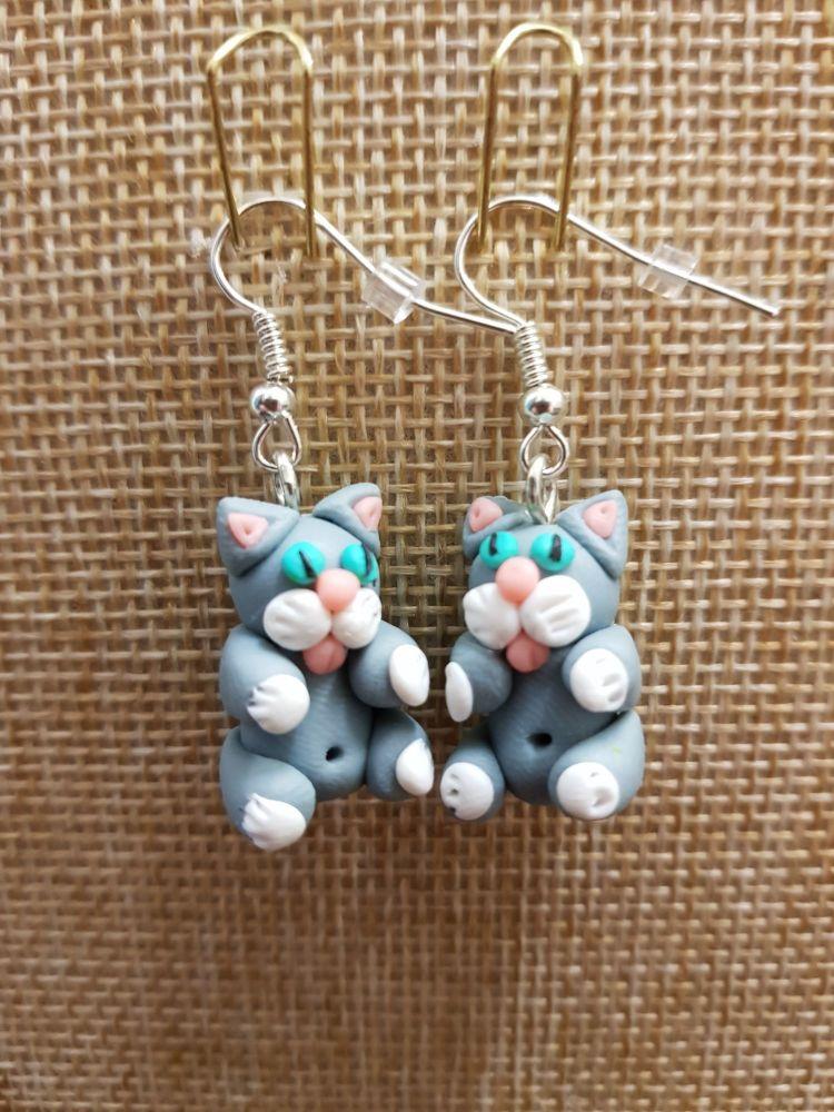 Grey & White Cat Earrings