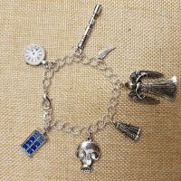 Doctor Who Inspired Silver Plated Chain Link Bracelet with Tibetan Silver Charms