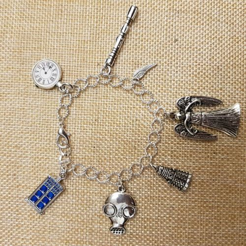 Doctor Who Inspired Silver Plated Chain Link Bracelet with Tibetan Silver C