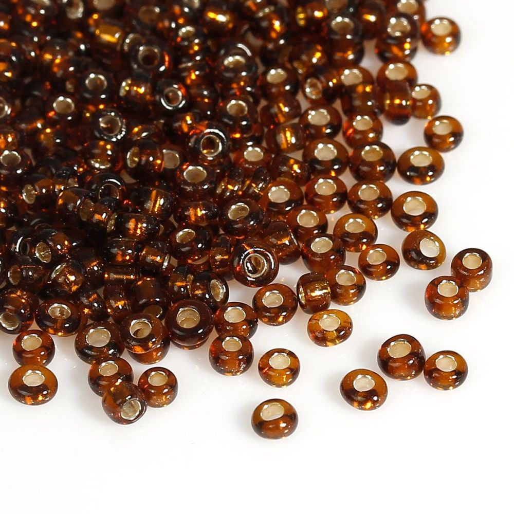 Glass Seed Beads - Dark Brown - Silver Lined - Size10/0