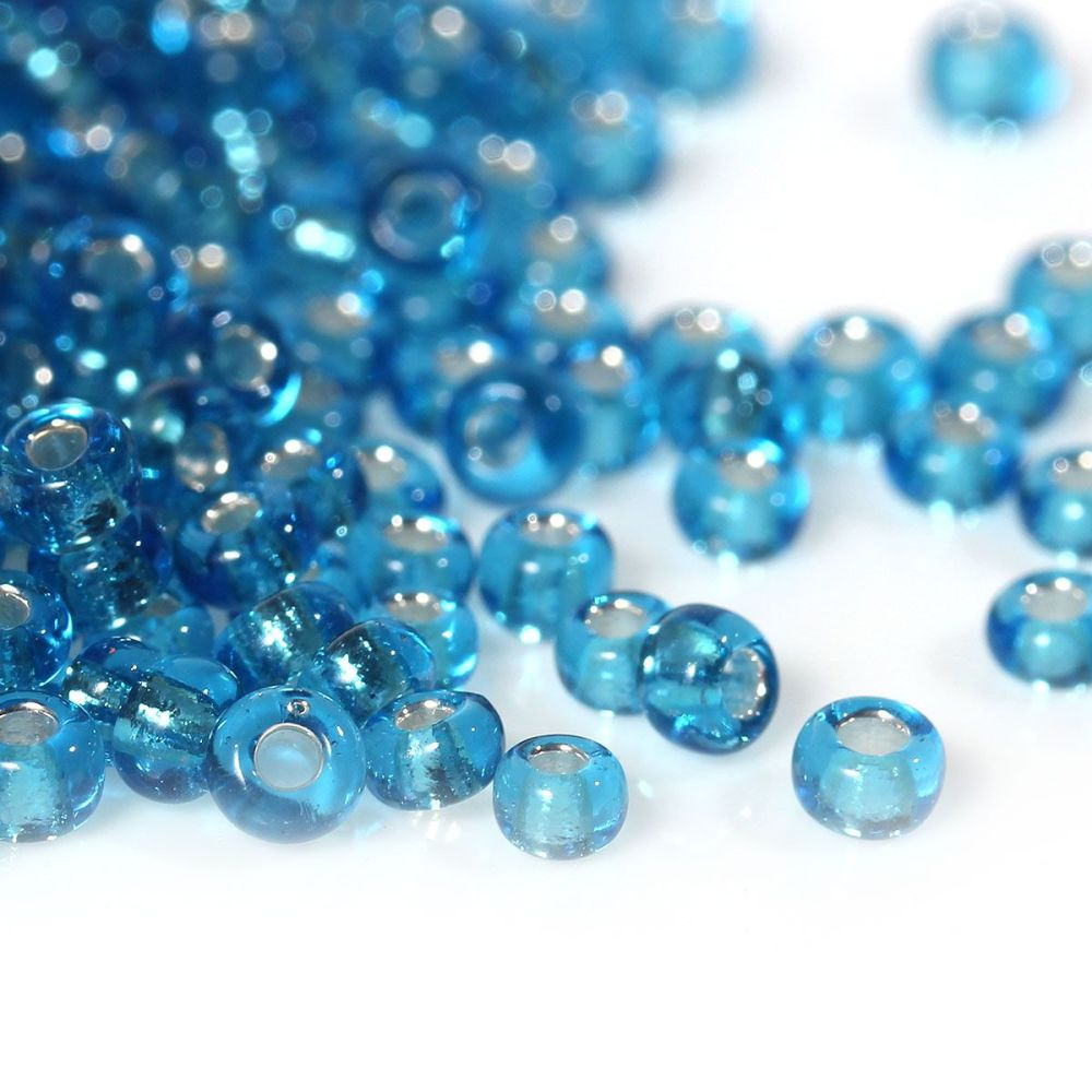 Glass Seed Beads - Aqua Blue - Silver Lined - Size10/0