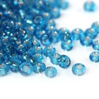 Glass Seed Beads - Aqua Blue - Silver Lined - Size 10/0