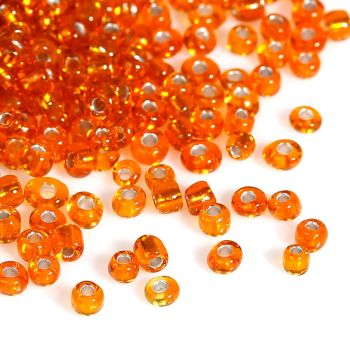 Glass Seed Beads - Orange - Silver Lined - Size 10/0