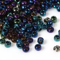 Glass Seed Beads - Blue AB Pearlised - Size 10/0