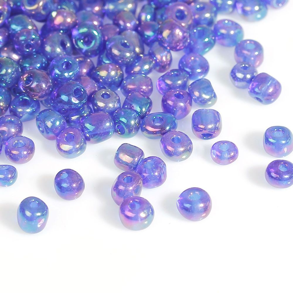 Glass Seed Beads - Blue AB - Size 10/0