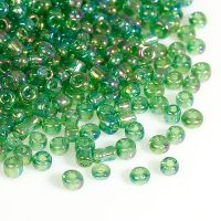 Glass Seed Beads - Green AB - Size 10/0